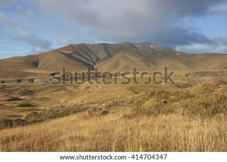 Sierra Contreras mountains bordering the eastern edge of in Torres del Paine National Park, Magallanes, Chile - stock photo