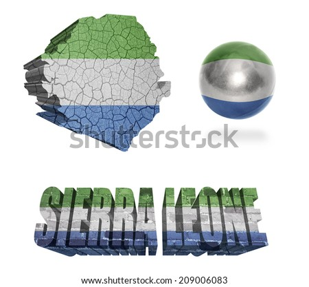 Sierra Leone flag and map in different styles in different textures - stock photo