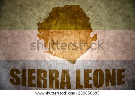 sierra leone map on a vintage sierra leone flag background - stock photo