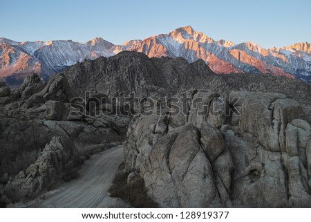 Sierra Nevada Mountains Seen from the Alabama Hills - stock photo