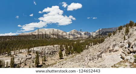 Sierra Nevada Panorama - West Face of Mount Whitney in the Distance. Beautiful Summer Day. California, USA. - stock photo