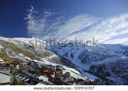 Sierra Nevada ski station and National Park and Veleta Peak (3.396 mts.). Granada,Andalucia,Spain - stock photo