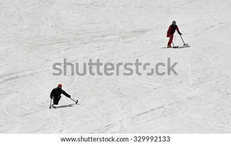 SIERRA NEVADA, SPAIN - APRIL 24, 2015: The ski resort of Sierra Nevada is the most important in southern Spain for winter sports. - stock photo