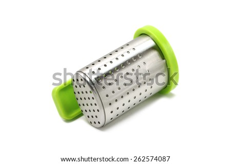 Sieve for brewing tea on a white background - stock photo