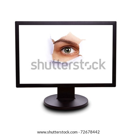 Sight from the monitor - stock photo