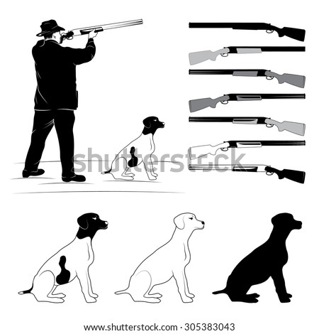 sighting hunter, a dog and a gun silhouettes - stock photo