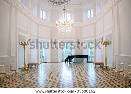 Sights of Warsaw. Nice interior in palace in Poland. Luxury ballroom. - stock photo