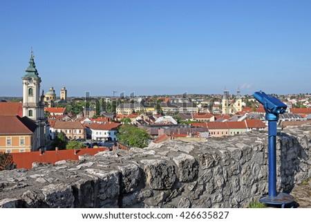 sightseeing binoculars on Eger fortress Hungary - stock photo