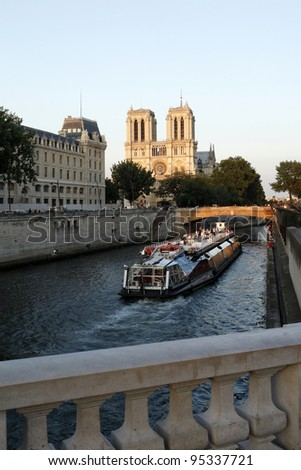 Sightseeing of Paris  or Seine drifting - stock photo
