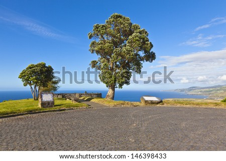 sightseeing point on Sao Miguel Acores - stock photo