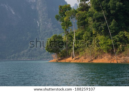 Sightseeing view at Rachapapha dam. Khao Sok National Park. Thailand. - stock photo