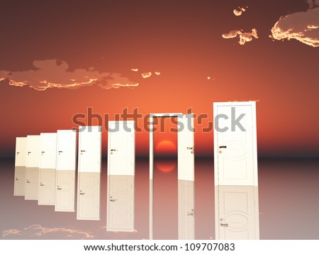 Sigle ope door in surreal landscape with setting or rising sun - stock photo
