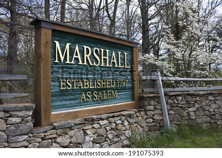 Sign at the entrance to Marshall, Virginia. Marshall, Virginia is in Fauquier County Virginia. - stock photo