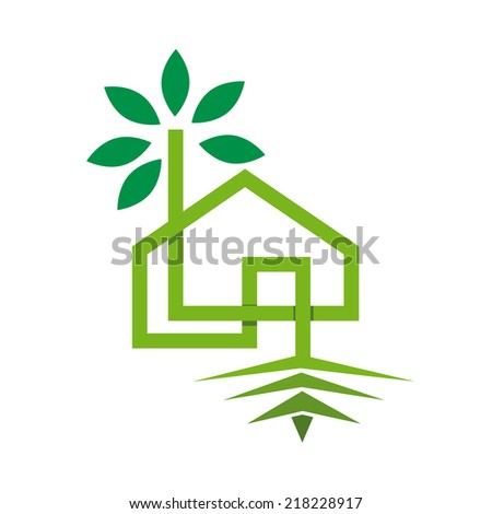 sign eco-house - stock photo