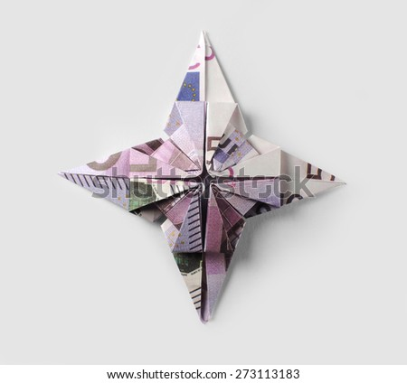 sign EU origami of five hundred euro banknotes - stock photo