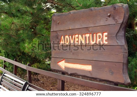 Sign for adventure                      - stock photo