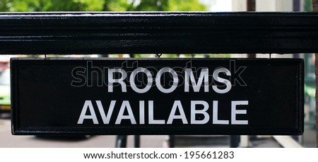 Sign for available rooms in the hotel - stock photo