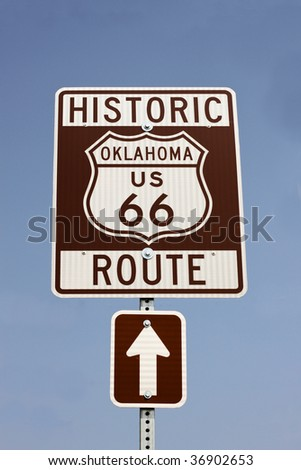 sign for historic route 66 in Oklahoma in the USA - stock photo