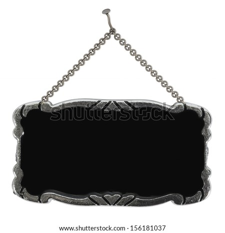 sign hanging on the chains isolated on a white background - stock photo