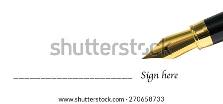 sign here form with golden fountain pen - stock photo