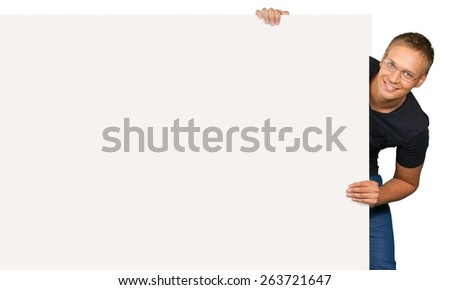 Sign, Holding, Businessman. - stock photo