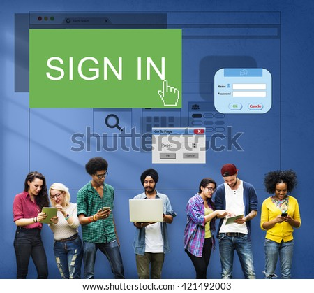 Sign-In Sign-Up Join Registry Membership Concept - stock photo