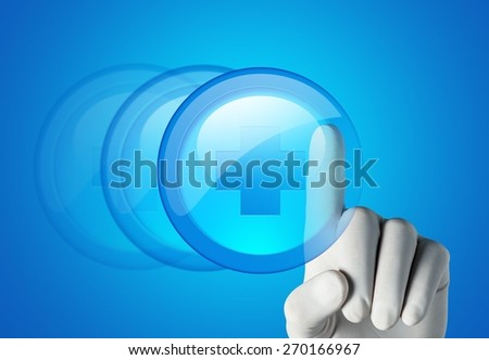 Sign. Medical hand with globe select on first aid sign - stock photo