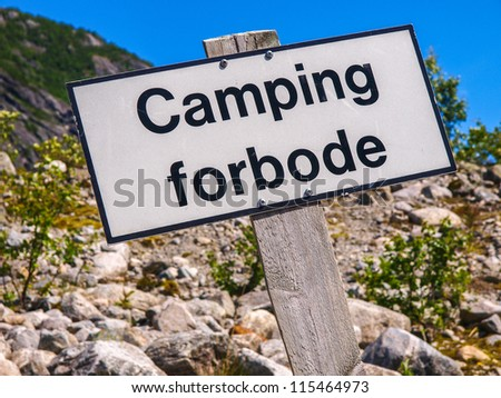 Sign no camping seen in Norway - stock photo
