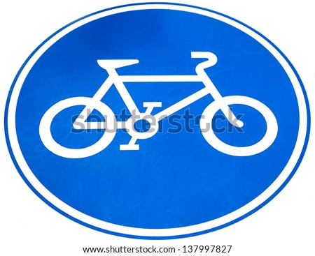 Sign of a bike or bicycle lane, isolate on white background - stock photo