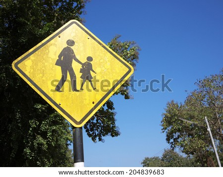 Sign of beware of student across the road. - stock photo