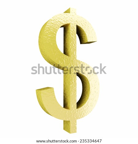Sign of dollar on white isolated background. 3d  - stock photo