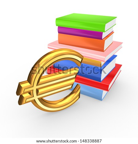 Sign of euro and colorful books.Isolated on white.3d rendered. - stock photo