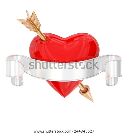 Sign of heart with ribbon and arrow isolated on white - stock photo