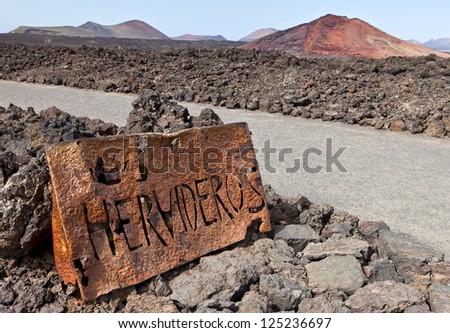 Sign of Los Hervideros, Lanzarote, Canary Islands, Spain - stock photo
