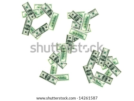 Sign of percents from one hundred dollars banknotes - stock photo