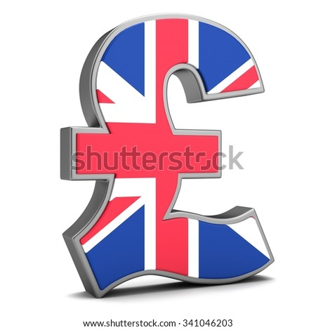 Sign of pound with flag UK isolated on a white background - stock photo
