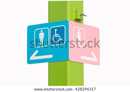 Sign of public toilet,  men lady and  wheelchair isolated on white - stock photo