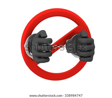 Sign of the ban - a crime. 3D render. Isolated on white background.  - stock photo