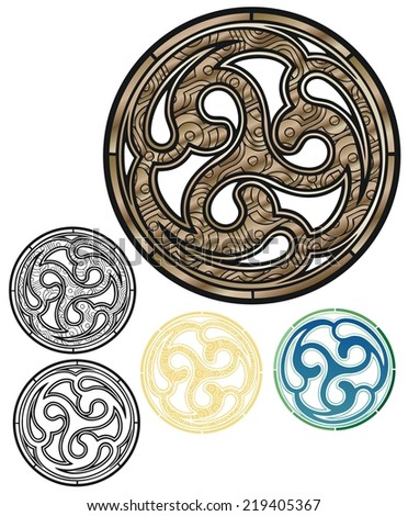 Sign of the triple goddess in a bronze shield, with variations - stock photo