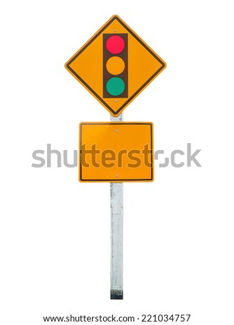 Sign of traffic lights isolated on white background - stock photo
