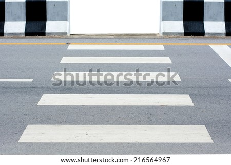 sign of zebra crossing on the road - stock photo