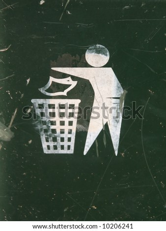 Sign on garbage can - stock photo