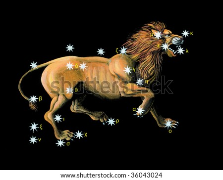 Sign on zodiac constellation Lion (Leo) - stock photo