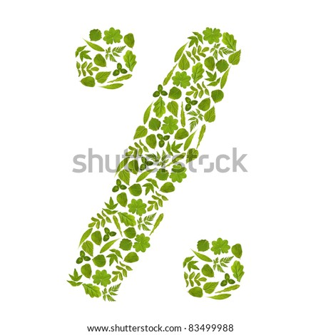 Sign percent from green leafs - stock photo