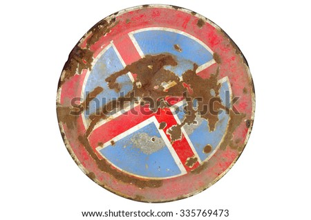 Sign prohibiting parking and stay rusty - stock photo