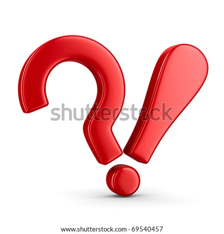 Sign question and exclamation on white. Isolated 3D image - stock photo