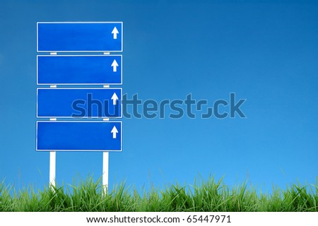 sign road with blue sky - stock photo