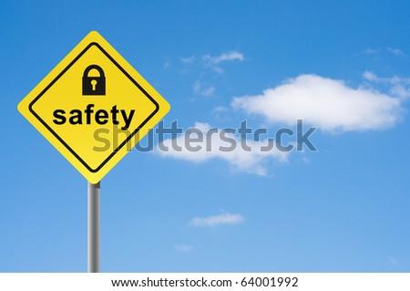 Sign safety padlock sky background. - stock photo