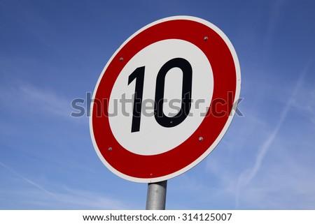 Sign speedlimit 10 km - stock photo