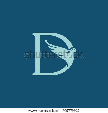 Sign the letter D Branding Identity Corporate logo design template Isolated on a blue background - stock photo